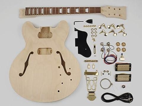 Hollow Body Style Guitar Assembly Kit - Basswood Body / 22 Frets / Bolt On Neck (KIT-ES-40)