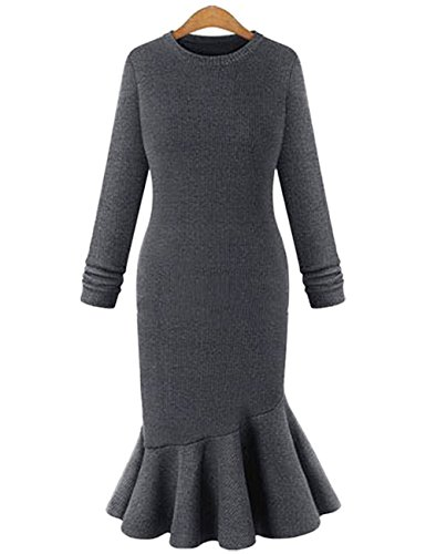 YesFashion Femme Robe Tulipe Maille Tricotage Manches longues Col rond Uni Robe Gris
