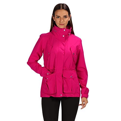 Regatta Nadalia Waterproof and Breathable Concealed Hooded Outdoor Chaqueta, Mujer, Rojo Oscuro, 8
