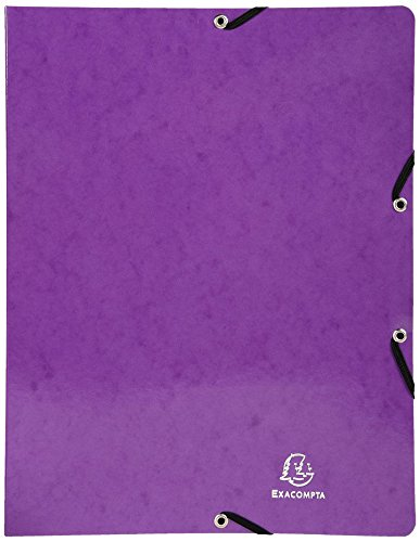 Exacompta 51896E Iderama Ringbuch (mit Gummizug A4, 4 Ringe, 15 mm, beschichteter Manila-Karton) 1 Stück, violett