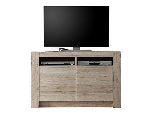 trendteam Wohnzimmer Lowboard Fernsehschrank Fernsehtisch Cougar, 113 x 72 x 40 cm in Eiche San Remo Hell Dekor mit zwei offenen Fächern