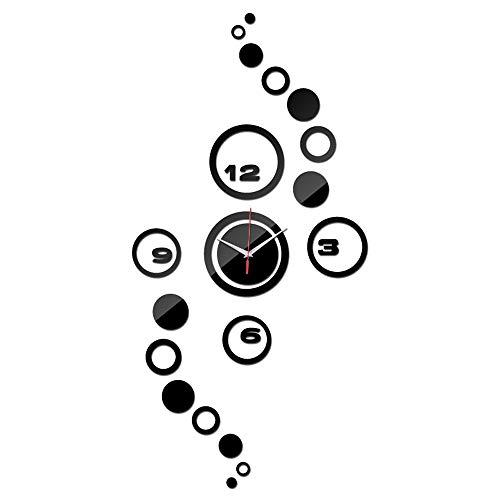 Dtuta Spiegel-Design-Kunstuhr Der Modernen Wand-Uhruhr 3D DIY Der Kreismuster-Aufkleberstunde Der Mode Kreative Einfache