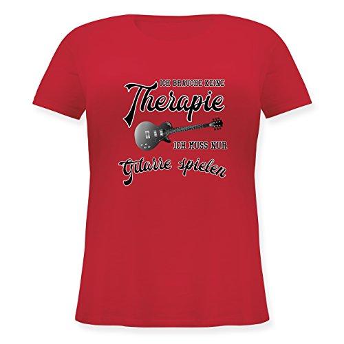 Gitarristen Nur T-shirt (Instrumente - Ich Brauche Keine Therapie ich muss nur Gitarre Spielen - L (48) - Rot - JHK601 - Lockeres Damen-Shirt in großen Größen mit Rundhalsausschnitt)
