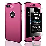 CASYLT [kompatibel für iPhone 7 Plus] 360 Grad Fullbody Soft-Case Hülle [inkl. 2X Panzerglas] Komplettschutz TPU Handyhülle in Lila
