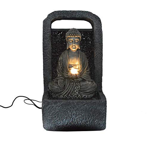 DRULINE Netherland LED Zimmerbrunnen Buddha Wasserfall, Outdoor, 38 x 64 x 28 cm