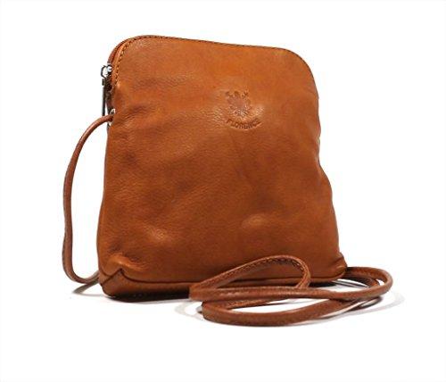 Echtes italienisches Small Soft Leder Cross-Body-Schultertasche Handtasche, rot (Rot) - PS49 Braun - Tan