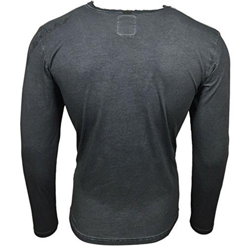 Rusty Neal Herren Langarm Longsleeve T-Shirt Sweatshirt Pullover Hemd RN-10119 Anthrazit