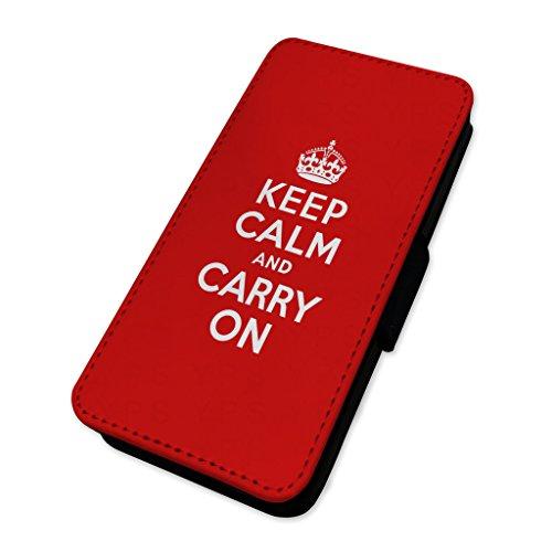 Keep Calm & Carry On–Royal Red–Custodia ad aletta in pelle copertura di carta Apple iPhone 5C