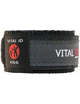 Kinder/Kids Vital ID Armband - medizinischer Notfall & Identität Stoff anthrazit - Child ID