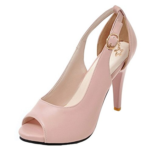 COOLCEPT Damen Mode-Event Peep Toe Pumps Clasp Stiletto Party Shoes Pink