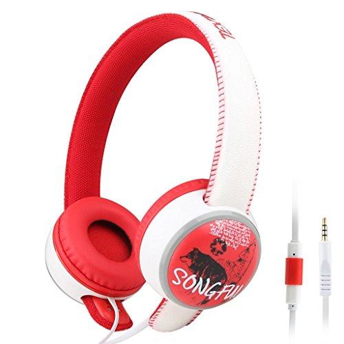 Sound Intone i35 3,5 mm über Ohr-Stereo / Hip-Hop DJ Style / Neues Modell 2014 / Abnehmbare Stirnband / Graffiti / moderner On Ear Leichte Kopfhörer Ohrhörer mit Inline-Mikrofon Kopfhörer und mit Noise Cancelling-Lautstärkeregelung / Gold-USB-Universal für Pc / iPhone oder iPad / Samsung Galaxy S4 S5 / Anmerkung 4 / LG Flex 2 1 / MP3 MP4-Player, Farbe Rot (rot)