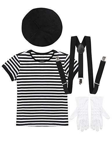 MSemis Mädchen Junge Pantomime Kostüm Französische Mime Cosplay Outfits 54 er Set Gestreifter Shirt & Hosen & Hosenträger & Baskenmütze & Handschuhe Schwarz 122-128/7-8Jahre (Mime Kostüm Für Jungen)
