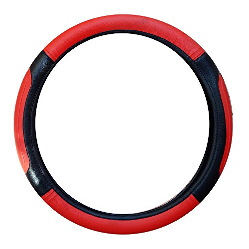 Vheelocityin Black and Red Car Steering Cover for Swift / Dzire / i20 / Grand i10 / Duster