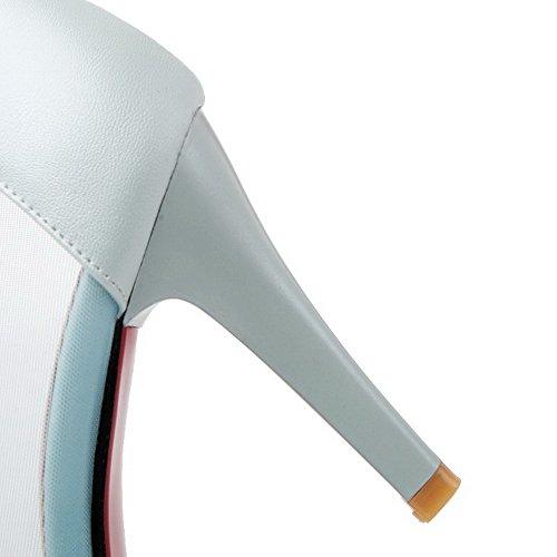 AgooLar Damen Rein Weiches Material Stiletto Ziehen Auf Spitz Zehe Pumps Schuhe Blau