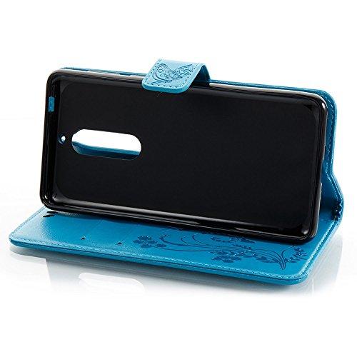Solid Color Faux Leder Bookstyle Brieftasche Stand Case mit geprägten Blumen & Lanyard & Card Slots für Nokia 5 (N5) ( Color : Brown ) Blue