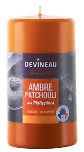 DEVINEAU 1608724 Bougie Grand Modèle 70H130 Ambre Patchouli des Philippines Orange