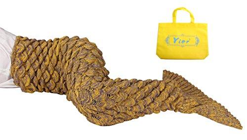 Yier® Meerjungfrau Endstück Häkeldecke für Erwachsen Teens Jugendliche Wohnzimmer-Schlafzimmer-Sofa Super weiche Skalen-Decken (Für Erwachsene Outfits Meerjungfrau Kleine)