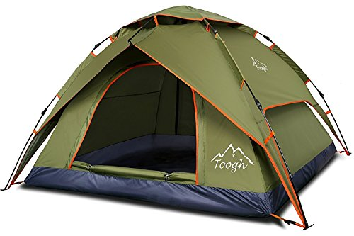 Tenda da campeggio 2-3 persone tenda da campeggio automatica tende da viaggio per famiglie - toogh four seasons twin e zanzariera include una borsa di tela
