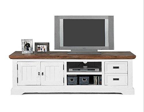 Möbelkultura OLYwohn1w-BC Lowboard TV Schrank, Holz, weiß / braun, 55 x 155 x 185 cm - 3