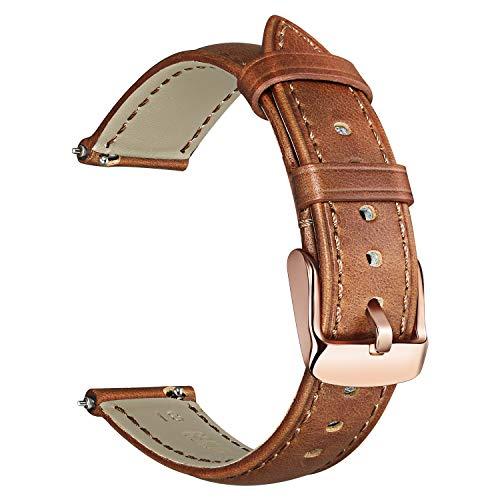 TRUMiRR kompatibel mit Fossil Gen 4 Q Venture HR Damen Armband Leder, 18mm Uhrenarmband Crazy Horse Echtes Leder Armband für Withings/Nokia Steel HR 36mm,ASUS Zenwatch 2 1.45'',Daniel Wellington 36mm -