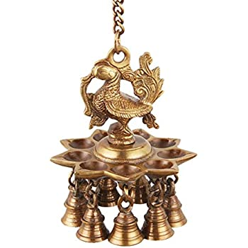 ONVAY Hanging Peacock Brass Diya with Bells | Home Decor