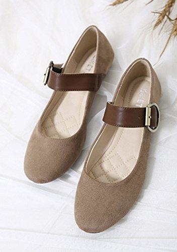 Aisun Femme Moderne Bout Rond Chaussures Plates Ballerines Avec Boucle Brun