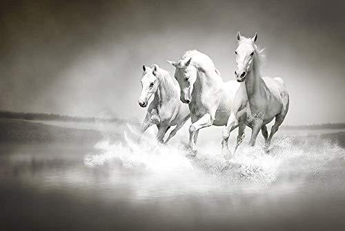 Benutzerdefinierte Wallpaper MuralsHerd White Horses Fließendes Wasser Wandaufkleber Tapeten Kunst Wandmalerei Wohnzimmer 300x210 cm
