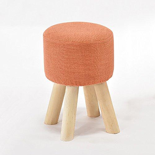 LJHA Tabouret pliable Tabouret de rehauts de bois solide / tabouret de salon créatif / tabouret de chaussures en évolution / tabouret de canapé en tissu (taille: 40 * 28 cm) chaise patchwork ( Couleur : Orange )