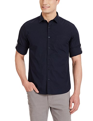 Highlander Men's Casual Shirt (13110001459345_HLSH008864_Medium_Navy Blue)  available at amazon for Rs.399