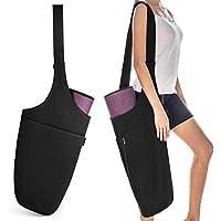 Gonex Bolsa para Esterilla de Yoga con 1 Bolsillo Grande Abierto y 1 Bolsillo Interior con Cierre, Correa Ajustable para el Hombro, Lona Lavada, Negro