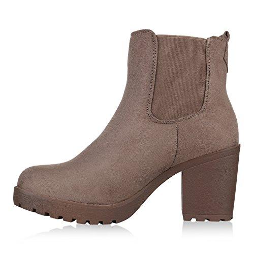 Stiefelparadies Damen Stiefeletten Wildleder-Optik Glitzer Chelsea Boots Animal Prints Profilsohle Knöchelhohe Stiefel Flandell Khaki Amares