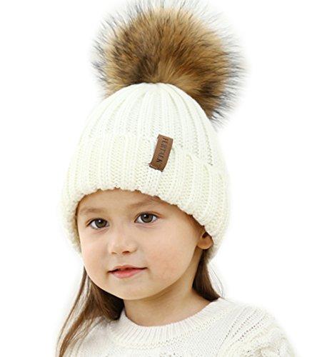 YANIBEST Strickmütze Pelzmütze Waschbär Pelz Pom Pom Beanie Hüte Winter Damen Mädchen Echt Große in weiß schwarz rose beige (Pelz-pom-pom Echte)