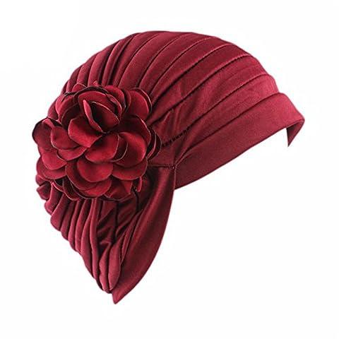 CYBERRY.M Femme fleur indienne Turban extensibles chapeau chimio Cap cheveux écharpe HeadwrapFemme fleur indienne Turban extensibles chapeau chimio Cap cheveux écharpe Headwrap (Vin Rouge)