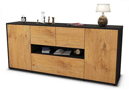Stil.Zeit Sideboard Elisabetta/Korpus anthrazit matt/Front Holz-Design Eiche (180x79x35cm) Push-to-Open Technik