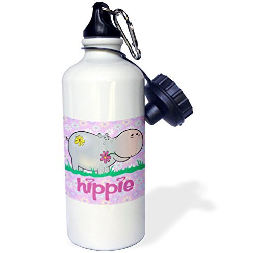 Sports Water Bottle Gift for Kids Girl Boy, Cute Hippie Hippo Hippopotamus With Hippie Flowers Background Cartoon Animal Stainless Steel Water Bottle for School Office Travel 21oz (Cute Hippie Girl)