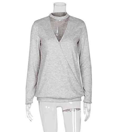 Zhiyuanan Donna Sexy Casual Maglioni Maniche Lunghe V Collare Sweater Inverno Moda Hollow-Out Pullover Grigio