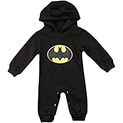 Newborn Toddler Overalls Jumpsuit Baby Boys Long Sleeve Button Up Cartoon Batman Romper One Piece Sl - Barboteuse - Bébé (garçon) - Noir - 80 cm