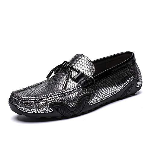 SHENNANJI Für Männer Fahren Loafer Boot Mokassins Slip On Stil OX Leder Klassische Fransen Dekoration Individuelle Farbe (Color : Silver, Größe : 38 EU) - Groß Fringe Boot