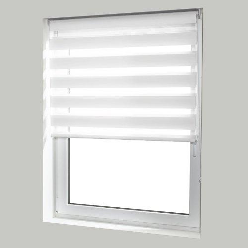 casa pura® Doppelrollo Day & Night mit Doppelfunktion - tageslichtdurchlässig und verdunkelnd - in 8 Größen | Weiß | 45x150cm