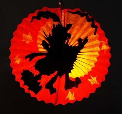 HAAC Lampion Set Laterne Halloween Hexe auf Besen oval 26 cm mit elektrischen Laternenstab 50 cm für Halloween Fasching Karnevall von HAAC auf Lampenhans.de