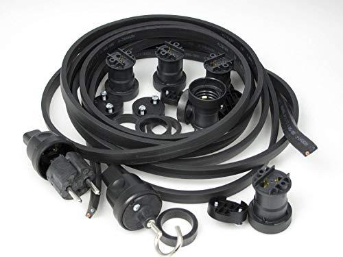 Preisvergleich Produktbild IKu ® Bausatz Illu Lichterkette 100 Meter 100 Fassungen - Stecker - Endstück - schwarzes Kabel