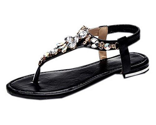 Y-BOA Sandale Nu-Pieds Femme Fille Plate Bijoux Tongs Chaussure Voyage Plage Été Noir