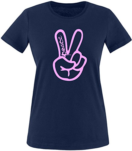 ezyshirt Peace Hand Damen Rundhals T-Shirt Navy/Rosa