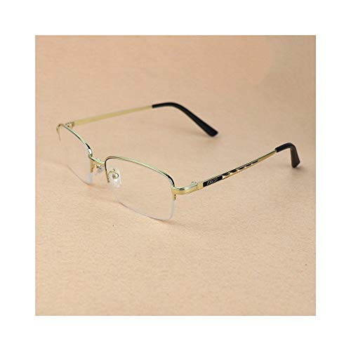 Optiacl Flat Lesebrille für Männer, Anti-Ermüdung, Kristalllinse Brille (Farbe : Golden+1.50)