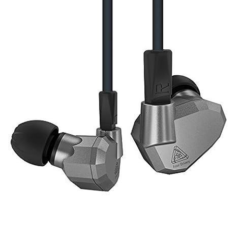 Original KZ ZS5double hybride Daynamic et armature équilibrée Sport Earphone quatre Driver Écouteurs intra-auriculaires isolant du bruit HiFi Musique Écouteurs intra-auriculaires (Gris)