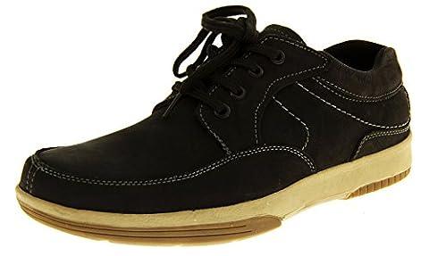 Mens cuir YACHTSMAN par marin Gents Chaussures Bateau Pont d'été décontracté chaussures noir UK 7