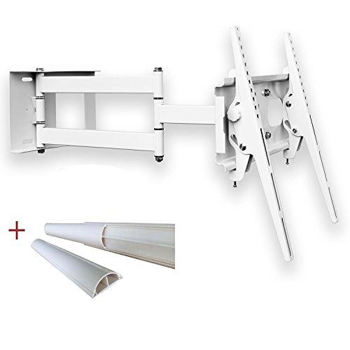 TV Wandhalterung Weiß universell Schwenkbar Neigbar Plasma LCD LED Wandhalter TV Halter für Fernseher bis 165cm ( 65 Zoll ) mit VESA von 100x100 bis 400x400   Wandabstand von 10 bis 65 cm