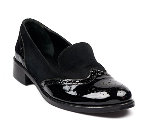 Blended Oxford (BOBERCK Frankie Collection Women's Leather Oxford Low Heel (7 US, Black))