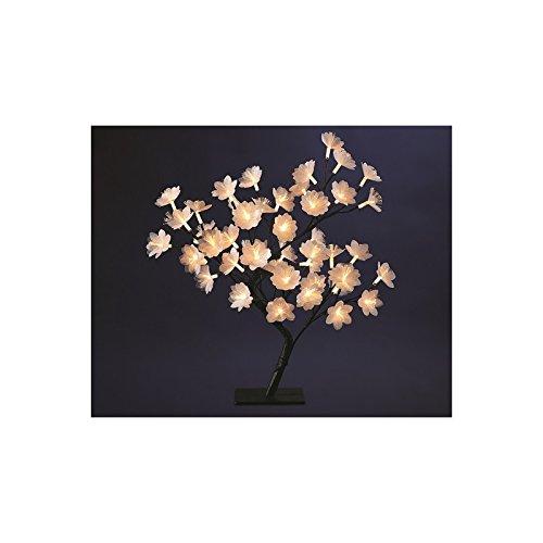 Decorazioni natalizie - Albero con fiori luminosi in fibra ottica 48 LED bianco caldo - Altezza 50 cm .