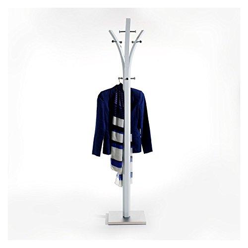 Garderobenständer Kleiderständer 9 Kleiderhaken Metall, weiß lackiert, Fuß mit Edelstahlblech